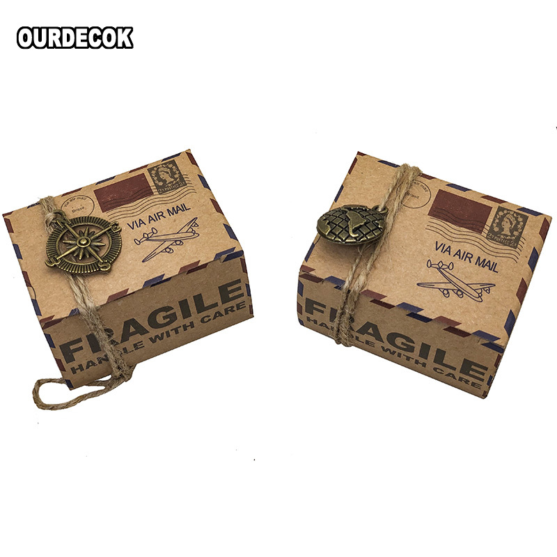 50 Pcs Vintage Favors Candy Box Kraft Paper Travel Theme Airplane Air Mail Boxes With Compass Hanging Wedding Party Souvenirs