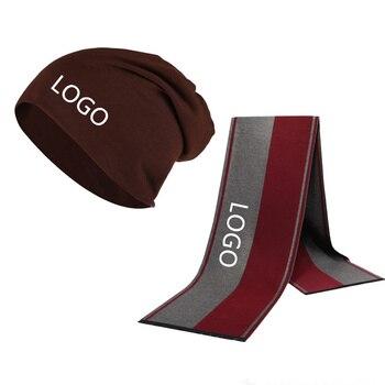 Winter Beanie Hat Custom Logo Men Hat Scarf Solid Color Warm Cotton Scarf Hat Set Male Sports Hat Scarf Set 2 Pcs