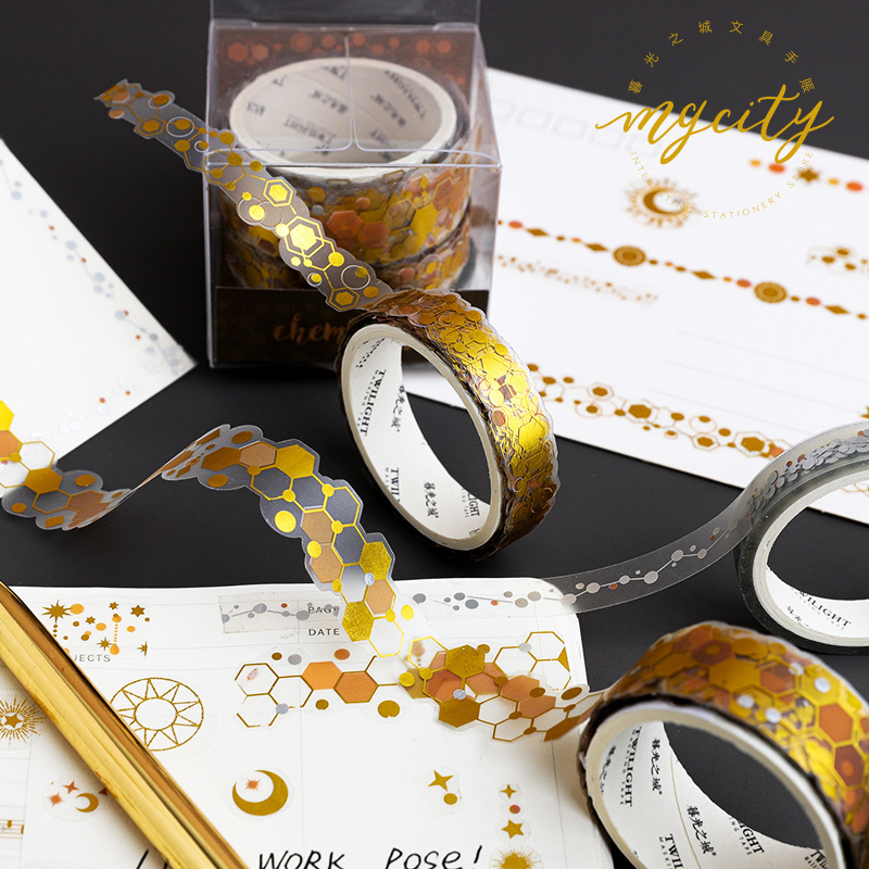 AngelHere Store 3 Pcs/lot Hot Stamping Washi Tape Retro Washi Tape Musical Note Galaxy Star Pattern Foil Washi Tape DIY Material