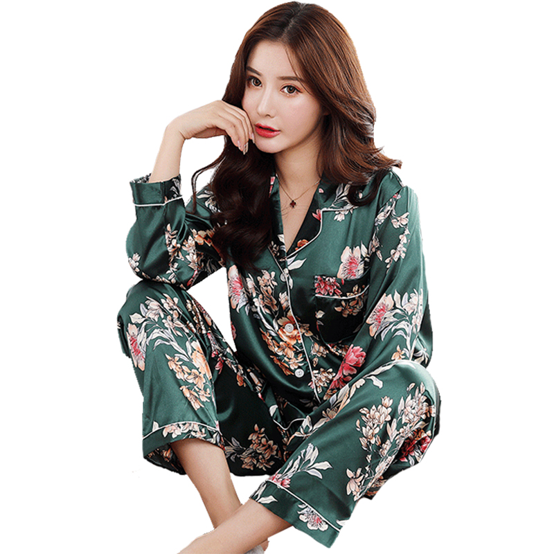 2020 Women Satin Silk Pajamas Set Pyjamas Button Pigiama Donna Pjs Winter Mujer Pijama Sleepwear Nightwear Pizama Damska 2Pcs