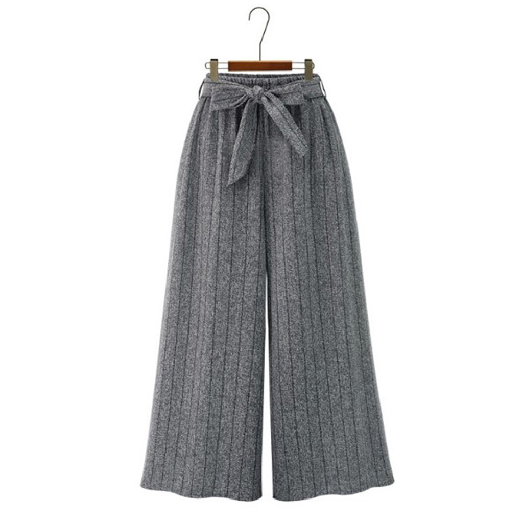 Womens   pants   women широкие брюки женские   wide   Loose Elastic Waist Stripe Trouser Cropped   Wide     Leg     Pants   sweatpants #3/56
