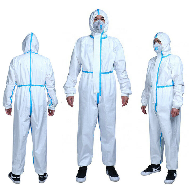 White Clothing Overall Coverall Hazmat Suit Protection Protective Disposable Anti-Virus Clothing Antivirus Workshop Safety Suit