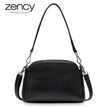 Zency, 100% натуральная кожа, модная женская сумка на плечо, белая сумка в виде ракушки, две застежки молнии, элегантная сумка через плечо, черный цвет