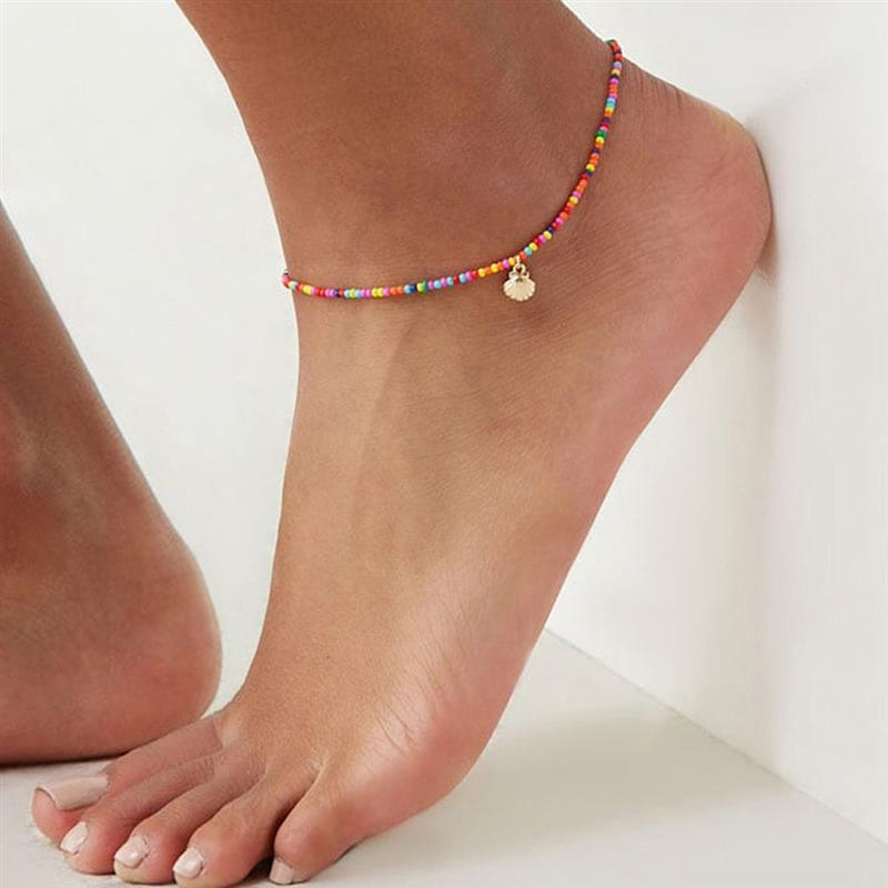 Bohemian Colorful Beads Scallop Shell Anklets for Women Summer Ocean Beach Ankle Bracelet Foot Leg Jewelry 2020