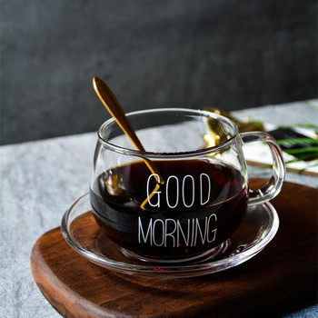 1Pcs Glass Breakfast Cup Coffee Tea Milk Yogurt Mug Creative Letters Printed Mug Transparent Handle Drinkware
