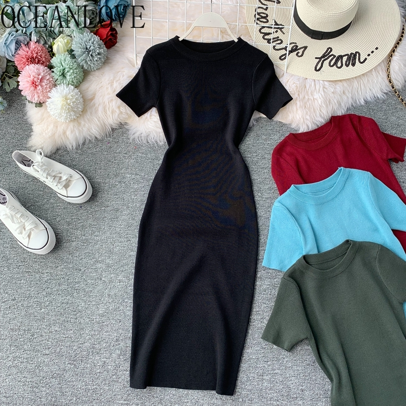 OCEANLOVE Sexy Dress Women Solid Bodycon Short Sleeve Summer Mini Dresses O-neck Knitting Stretch Retro High Waist Vestido 12350