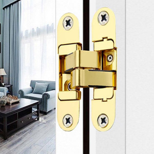 Image 5 - Driedimensionale onzichtbare deur scharnieren Houten deur vouwen blind deuren Cross 180 ° binnen en buiten Open verborgen scharnieren