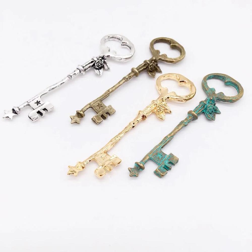 Vintage 6 pcs key charms metal tiny flower Pendants fit DIY bracelet necklace charms Jewelry Making gift(China)
