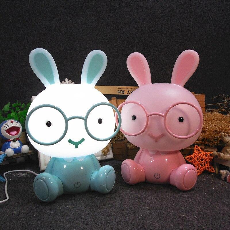 Modern Cartoon Table Lamp Kids Room Bedside Lamp Glasses Rabbit Led USB Table Light Christmas Gift Touch Switch Decor Luminaire
