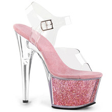 Sexy high heels 15cm transparent crystal waterproof platform, sexy nightclub model sandals, stage show sandals women shoes female model t station catwalk sexy crystal transparent shoes 15cm high heels waterproof head fish head sandals