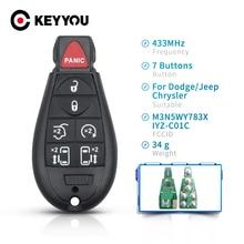 KEYYOU Car Key For Dodge Caravan Chrysler Town Country Jeep M3N5WY783X IYZ-C01C 433Mhz Fob 7 6+1 Buttons Remote Key Uncut Blade
