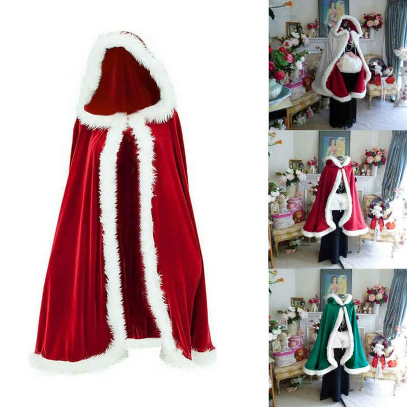 Женское рождественское пальто Санта Клауса, накидка с капюшоном, пальто из искусственного меха, Рождественский костюм для костюмированной вечеринки, Зимние Свадебные часы с капюшоном