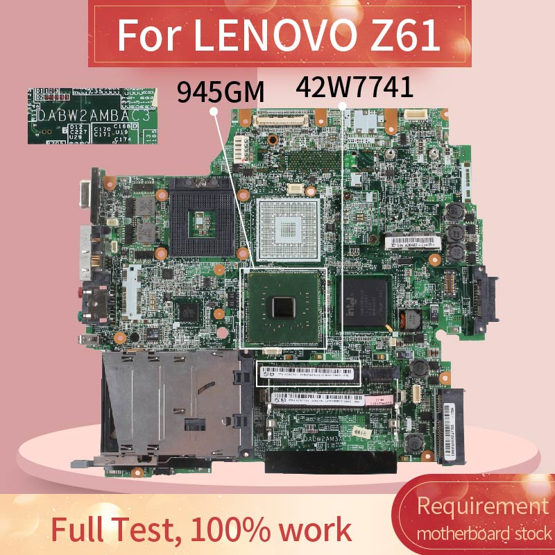 42W7741 Laptop <font><b>motherboard</b></font> For LENOVO T61 <font><b>T60</b></font> Notebook Mainboard DABW2AMBAC3 945GM DDR3 image