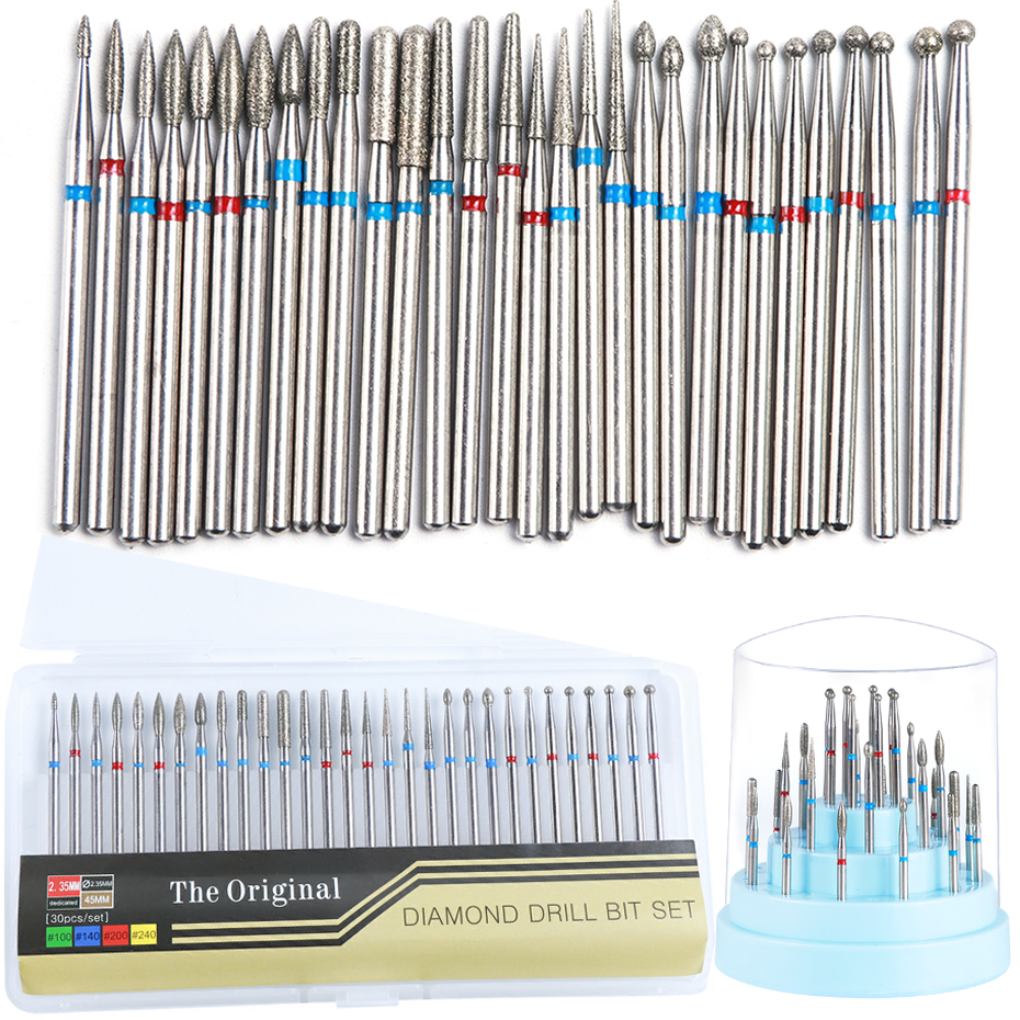30Pcs Diamond Nail Drill Bits Set Electric Milling Cutter For Manicure Pedicure Professional Nail Accessories And Tools LE775