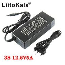 Liitokala 12.6V 5A 3A 1A Lithium Battery Charger 3 series lithium Cbattery 12V battery charger+US EU AC power cord