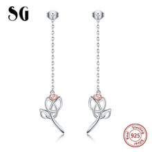 New arrival genuine 925 sterling silver geometric hollow rose stud earrings for women fashion simple silver jewelry lover gift new arrival sterling silver 925 emerald earrings silver square openwork green zircon stud earrings for women palace jewelry gift