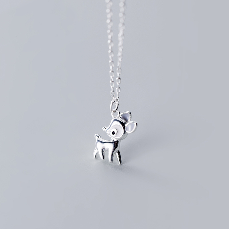 MloveAcc Authentic 100% 925 Sterling Silver Cute Deer Pendant Necklaces For Women Jewelry Fashion Gift