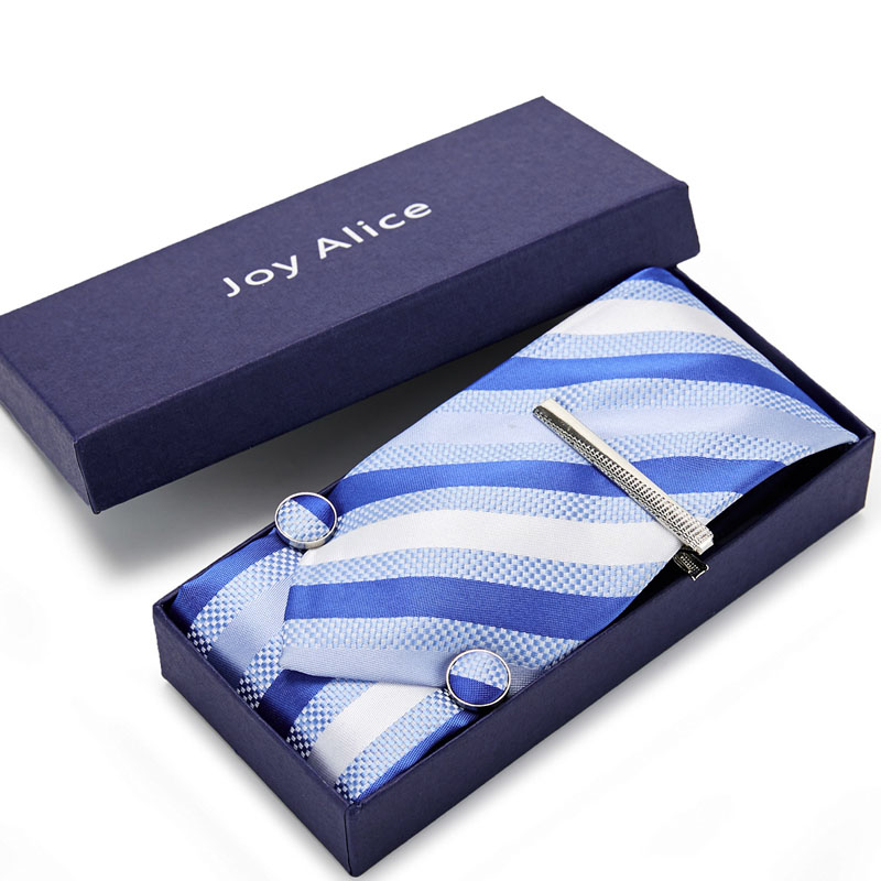 2020 New Classic  Tie Set Gift Box For Men  Jacquard 8cm Necktie And Pocket Square Clip Cufflinks  Handkerchief Formal Dress