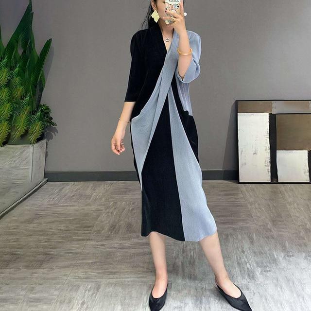 Elegant Pleated Dress Women  Hit Color Patchwork Slim Cross Design  2