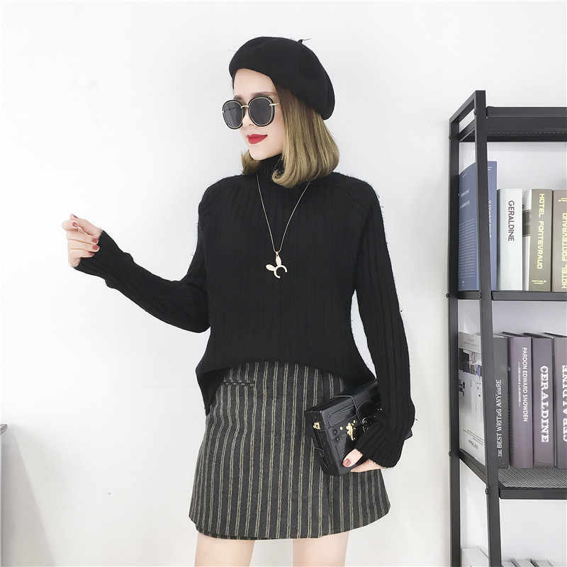 스웨터 여성 2020 솔리드 컬러 느슨한 캐주얼 절반 터틀넥 긴 소매 두꺼운 가을 따뜻한 겨울 여성 스웨터 vestidos lxj663