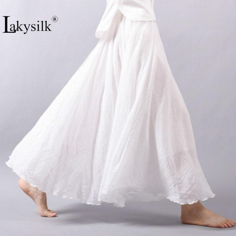 Vintage Women Cotton Linen Skirt High Waisted Elegant Sexy Solid White Black Pleated Skirts Female Maxi Skirts Women Long Skirts
