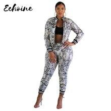 Echoine Elegant Lady Short Suit Set Women Snake Skin Print 2 Piece White Color Jacket Blazer High Waist Ankle Pant Suits