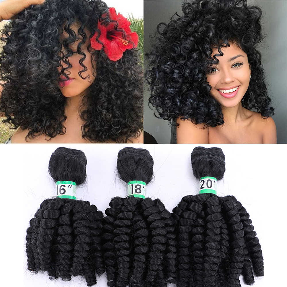 Natifah Bouncy Curly Brazilian Hair Weave Bundles 16-20 inch Synthetic Hair Weave Bundle Curly Hair Black Brown Blonde for Woman