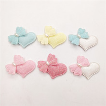 30pcs/lot 4.5*3.5cm heart with bow padded patches appliques for headwear decoration handmade hair clip accessories