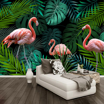 Custom Photo Hand Painted Tropical Rainforest Banana Leaf Red Bird Green Mural Wallpaper Home Decor 3D Wall Painting Living Room hand painted tropical rainforest plantain wall custom high end mural factory wholesale wallpaper mural photo wall