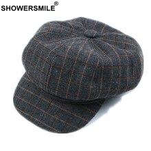 SHOWERSMILE Женская кепка Newsboy, женская серая Клетчатая Шерстяная кепка, британский стиль, винтажная Кепка Baker Boy, Повседневная Кепка с плоской подошвой