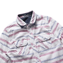 Детская осенне-зимняя длинная рубашка Простая рубашка для больших мальчиков разноцветная Детская куртка в полоску из чистого хлопка