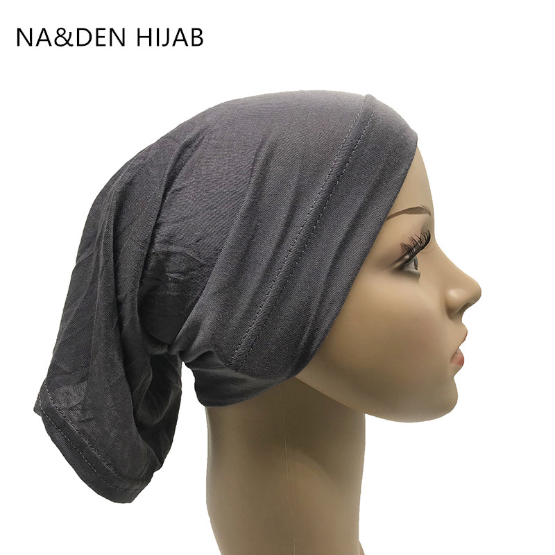 1PCS Muslim Headscarf Women Hijab Stretch Cap Islamic Inner Caps Modal Under Scarf Bone Bonnet Neck Cover Muslim Scarf 28 Colors
