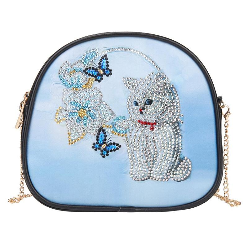 Casual Female Shoulder Bag DIY Cat Special Shaped Diamond Painting Handbags PU Leather Chain Crossbody Bags For Women Bolsas