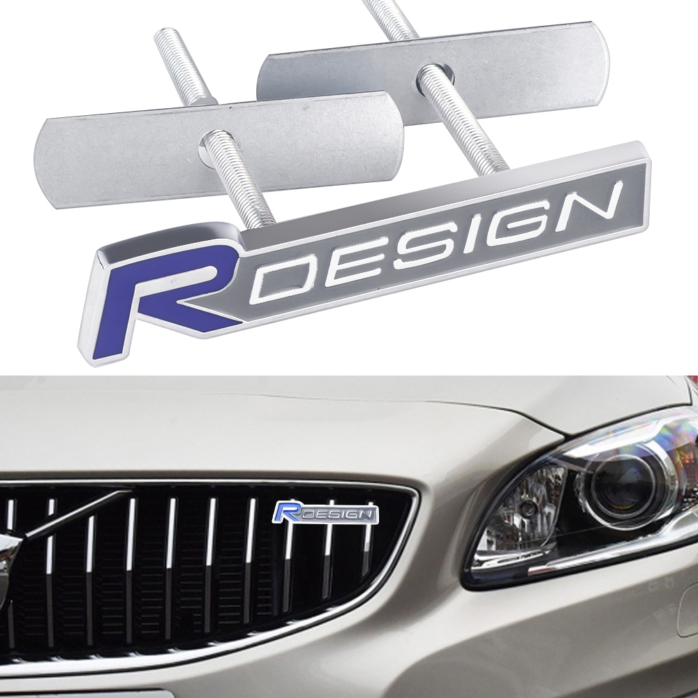 3D Metal R DESIGN Emblem Car Stickers Front Grille Badge Car Styling For <font><b>VOLVO</b></font> RDESIGN <font><b>S60</b></font> V60 XC60 <font><b>S60</b></font> V40 Auto Accessories image