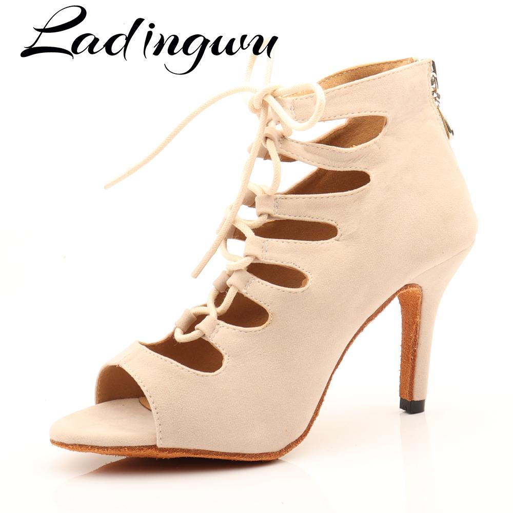 Ladingwu Beige Suede High top Dance Shoes Boots Women Latin Dance Shoes Girls Salsa Ballroom Dance Shoes Performance Shoes