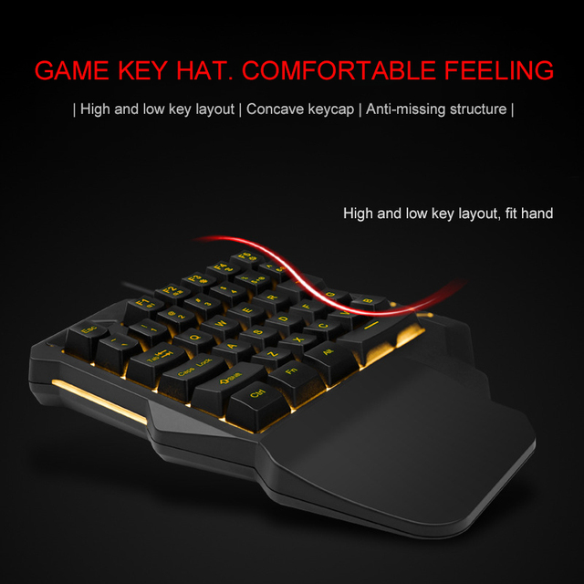 Light One Handed Mechanical Gaming Keyboard 35 Keys Gaming Keypad Cool Light RGB Backlit Game Controller For PC PS4 Xbox