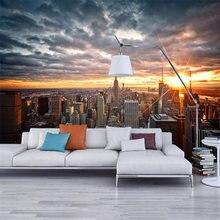 Foto papel de parede bela cidade de nova iorque pôr do sol paisagem arte fotografia fundo da parede 3d mural sala jantar decoração casa fresco