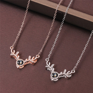 Image 2 - Wholesale 200Pcs/Lot Rose Gold 100 languages I love you Projection Pendant Necklace Love Memory Wedding Necklace Jewelry