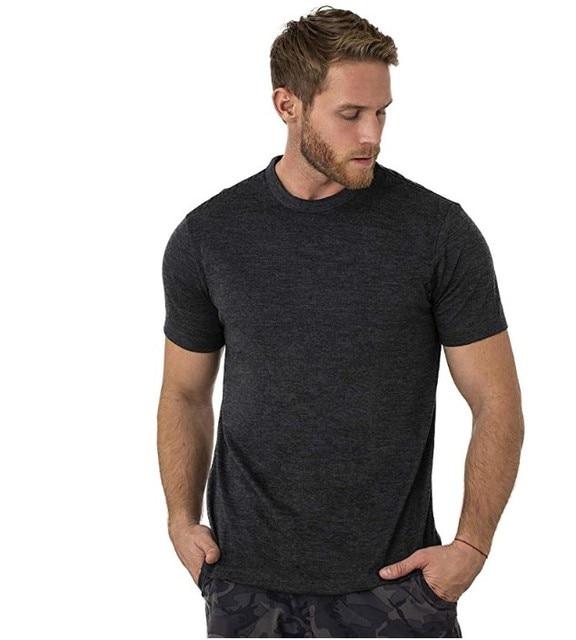 2021 Men's Merino Wool T Shirt Base Layer Wool Tee Men 100% Merino Wool Shirt 170gram Wicking Breathable Anti-Odor Size S-XXL 2