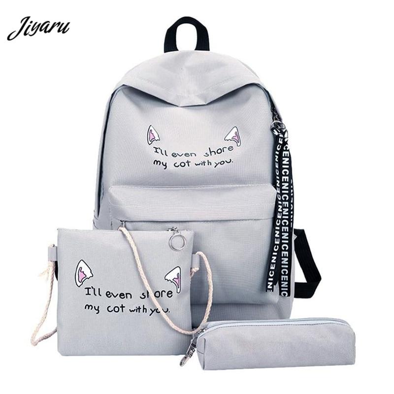 2019 Fashion Women Schoolbag High Quality Backpack Female School Shoulder Bag Canvas Backpack For Teenage Girls Mochila 3PCS