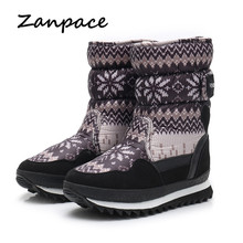 Купить с кэшбэком Christmas Women Winter Boots Non-slip Plus Velvet Warm Shoes Snow Boots Large Size 34-41 Russian Style Waterproof Women Boots