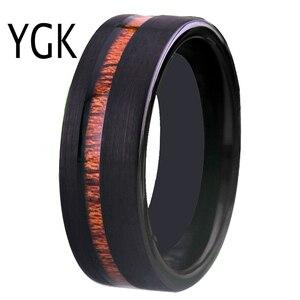 Image 5 - Bruiloft Sieraden Ringen Forwoman Mannen Hout Inlay Ring Nieuwe Tungsten Ringen Voor Mannen Bruidegom Bruiloft Engagement Anniversary Ring