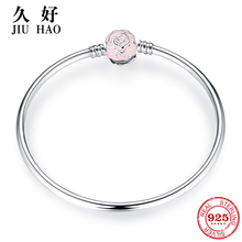 New 925 Sterling Silver Charm LOVE Pink Rose Bracelets Bangl