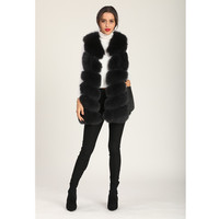 Black Vest Real Fox Fur Vest For Women High Quality Vest Jacket Warm In Winter With Pocket Side Fox Fur And Leather Stitching