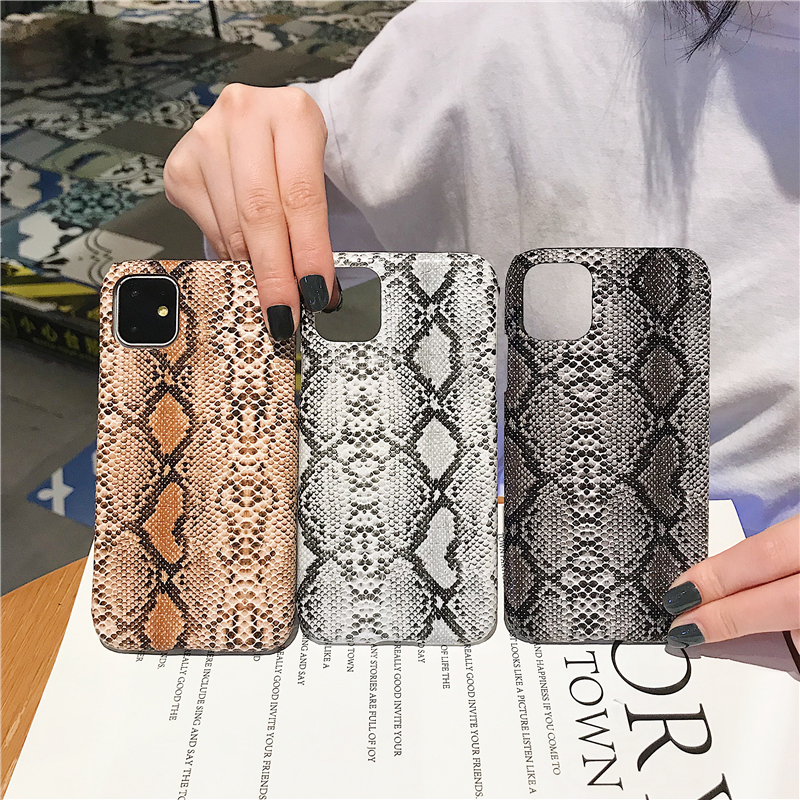 Stylish retro creative python skin phone case for iPhone X XR XS MAX 6 6S 7 8 Plus 11 pro drop-proof personality