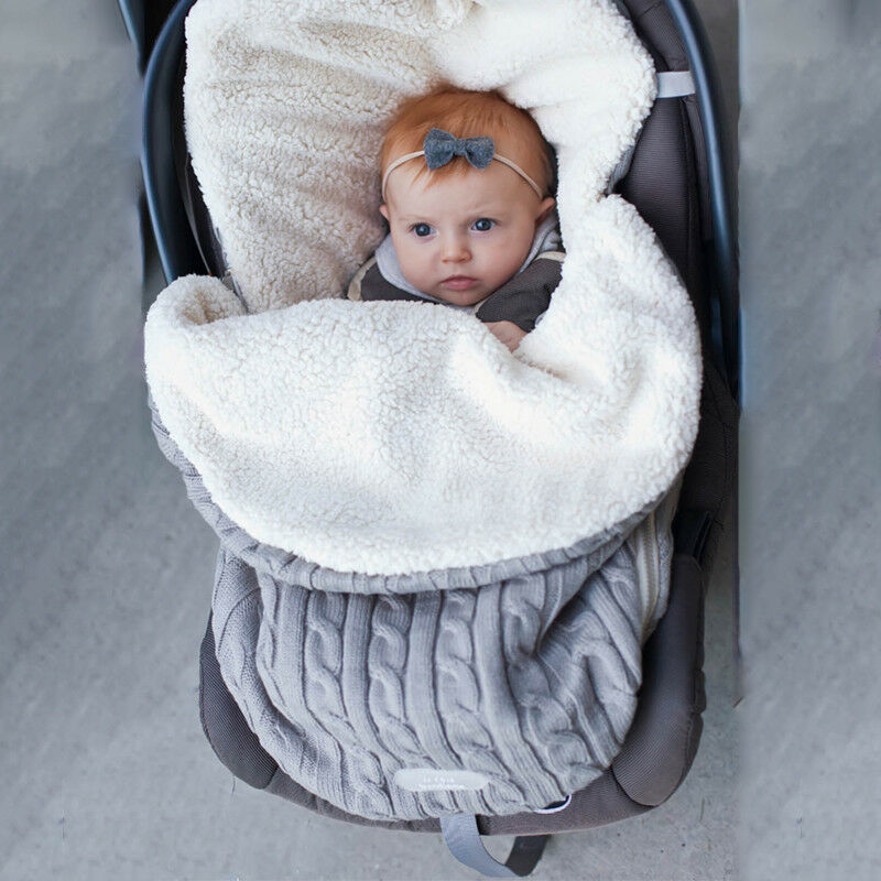 Baby Hooded Swaddle Knit Wrap Blanket Warm Pram Pushchair Stroller Sleeping Bag Baby Footmuff Liner Buggy Pram Car Seat