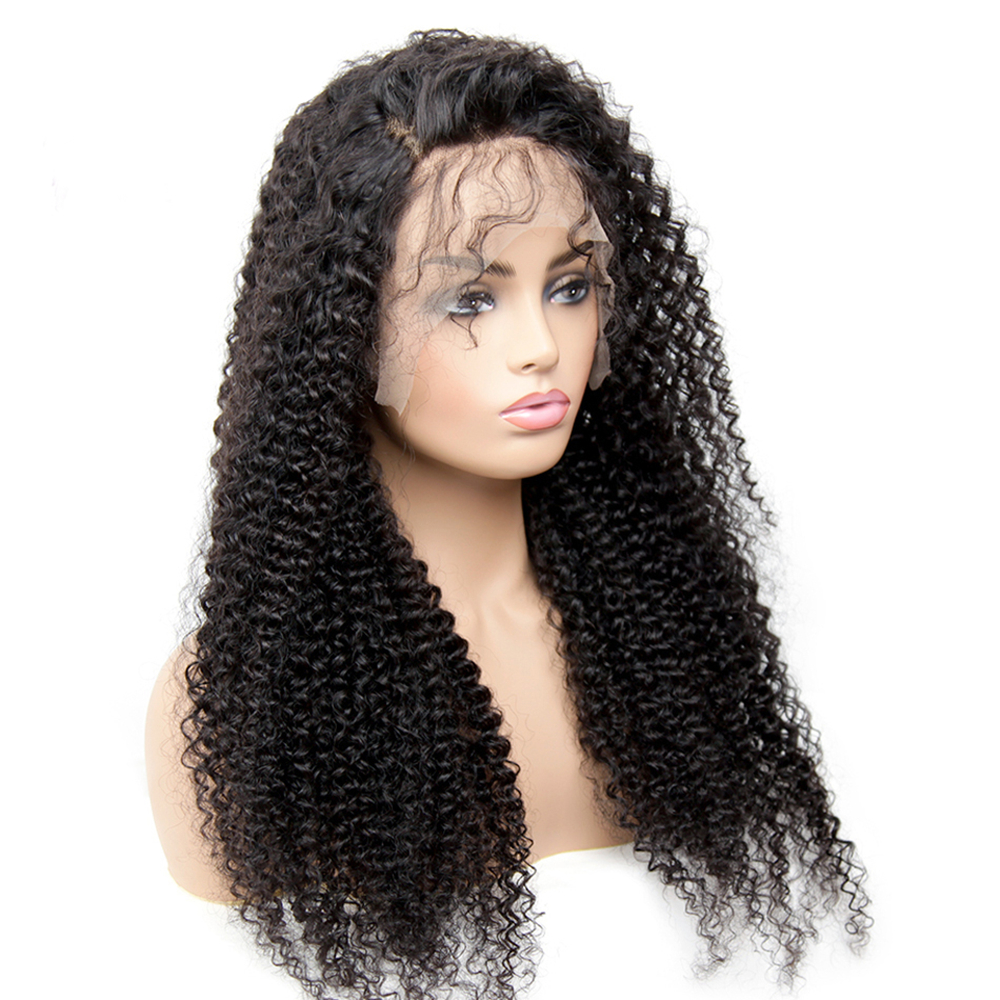 360 Lace Frontal Wig Pre Plucked With Baby Hair Brazilian Kinky Curly 360 Lace Human Hair Wigs 8-24 Inch Middle Ratio Remy Wig