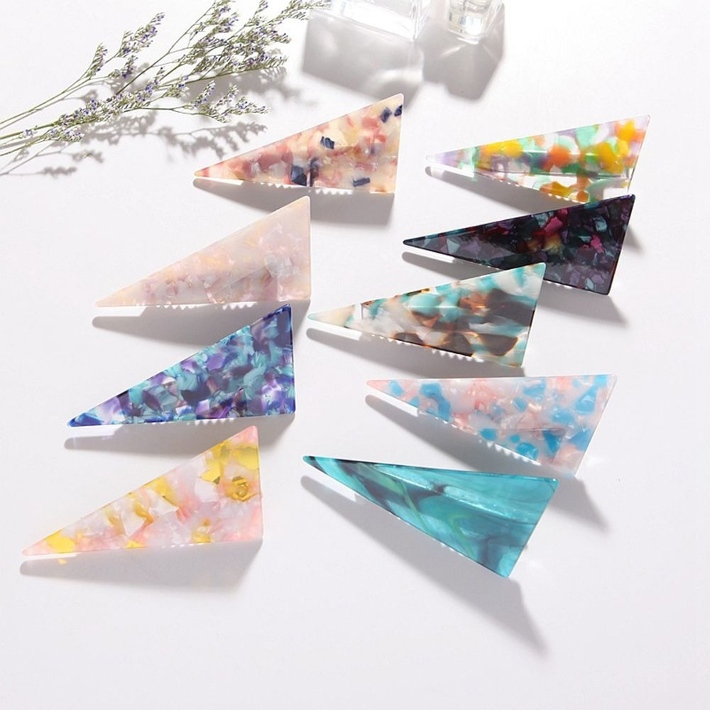 2020 Triangle Hair Clip For Women Girls Acetic Acid Barrette Marble Geometric Duckbill Hairpin Hair Accessories