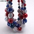 MHS.SUN детское модное ожерелье 4 июля с флагом США крупные бусины жвачка ожерелье сделай сам горный хрусталь ожерелье для детской Вечерние