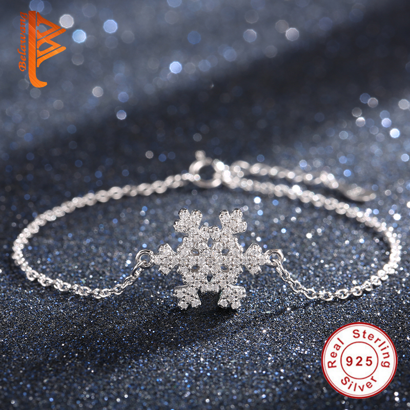 2019 Winter 925 Sterling Silver Crystal Bracelet Snowflake Charm Bracelets For Women Ladies Fashion Jewelry Christmas Gift